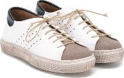 Pepe , Colour Panel Lace Up Sneakers Kids Calf Leathersuedeleatherrubber 30, White