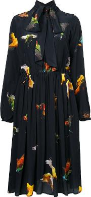 Romance Was Born , Budgie Tie Dress Women Silk 12, Women's, Black