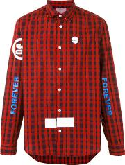 Sold Out Frvr , Printed Checked Shirt Men Cottonspandexelastane M, Red