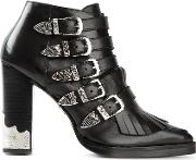 Toga Pulla , Fringed Ankle Boots Women Leather 36, Women's, Black