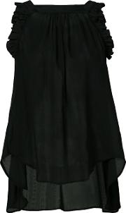 Veronique Branquinho , Ruffled Detail Blouse Women Cottonlinenflax 40, Women's, Black