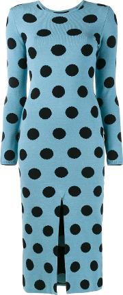 Natasha Zinko , Knitted Polka Dot Dress Women Polyesterviscose L, Blue