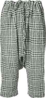 Forme Dexpression , Forme D'expression Gingham Drop Crotch Cropped Trousers Women Cottonlinenflax M