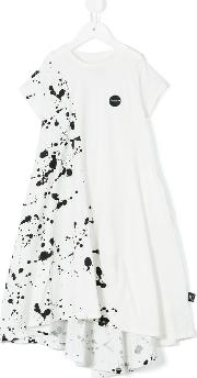 Nununu , Splash Paint Effect Dress Kids Cotton 5 Yrs, Toddler Girl's, White