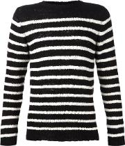 The Elder Statesman , Cashmere Striped Sweater Unisex Cashmere M, Black