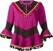Rossella Jardini , Tassel Trim Top Women Cottonsilk 42, Pinkpurple