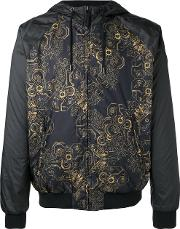 Versace Jeans , Print Hooded Jacket Men Cottonpolyester 50, Black