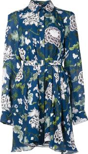 Adam Lippes , Long Sleeve Trapeze Shirt Dress Women Silk 4, Women's, Blue