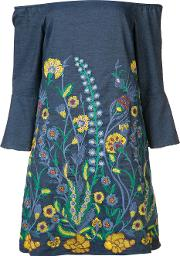 Aliceolivia , Alice Olivia Floral Embroidered Dress Women Cottonpolyesterspandexelastane S, Women's, Blue