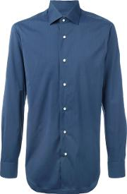 Barba , Pleated Cuffs Shirt Men Cottonpolyamidespandexelastane 39, Blue