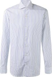 Barba , Striped Shirt Men Cotton 42, White