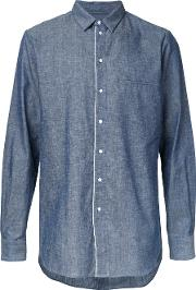Bassike , Selvedge Denim Shirt Men Cotton M, Blue