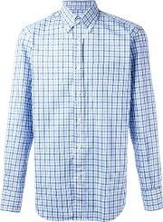 Canali , Checked Print Shirt Men Cotton L, Blue