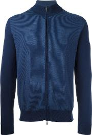 Canali , Zip Up Cardigan Men Cotton 54, Blue