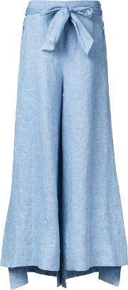 Demoo Parkchoonmoo , Belted Flared Trousers Women Linenflax 36