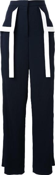 Dion Lee , Contrast Stripe Palazzo Trousers Women Polyester 6, Black