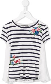 Ermanno Scervino Junior , Floral Embroidery Striped T Shirt Kids Polyesterspandexelastaneviscose 10 Yrs, White