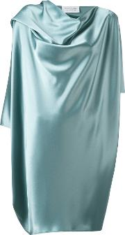 Gianluca Capannolo , Draped Metallic Dress Women Polyethylenetriacetate 40, Women's, Blue