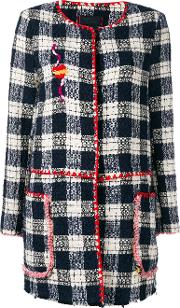 History Repeats , Checked Trim Jacket Women Cottonpolyester 40, Women's, Blue