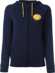 History Repeats , Smile Patch Zipped Hoodie Women Cottonpolyester S, Women's, Blue