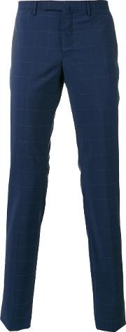 Incotex , Checked Slim Fit Tailored Trousers Men Wool 52, Blue