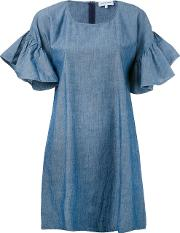 Maison Labiche , Ruffle Sleeve Shift Dress Women Cotton S, Women's, Blue