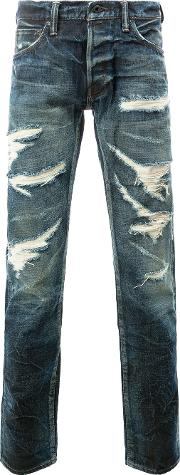 Mastercraft Union , Tapered Distressed Jeans Men Cotton 30, Blue