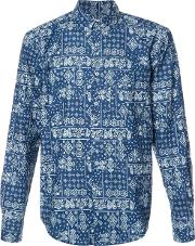 Naked And Famous , Paisley Print Shirt Men Cotton S, Blue