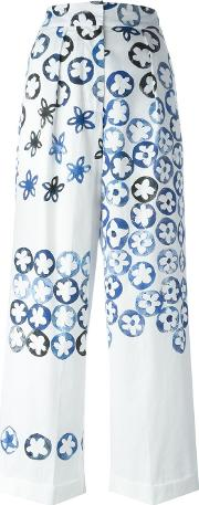 Ports , 1961 Painted Effect Floral Print Wide Leg Trousers Women Cotton 40, White