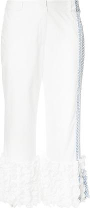 Rosie Assoulin , Frill Hem Cropped Trousers Women Cotton 4, White