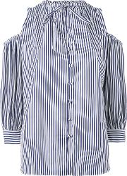 Rossella Jardini , Striped Cold Shoulder Shirt Women Cotton 42, Women's, Blue