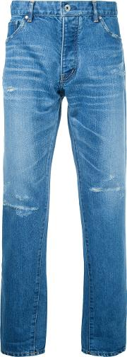 Taakk , Tapered Cropped Jeans Men Cottonpolyesterrayon 2, Blue