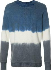 The Elder Statesman , Striped Jumper Men Cashmere M, Blue