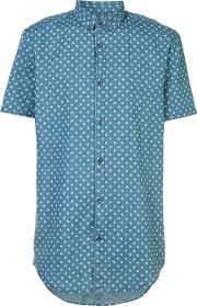 Zanerobe , Printed Shortsleeved Shirt Men Cotton L, Blue