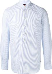 Mp Massimo Piombo , Pinstripe Collarless Shirt Men Cotton 42, White
