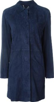 Desa Collection , Single Breasted Coat Women Leather 42, Women's, Blue
