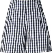 Dice Kayek , Gingham Shorts Women Silkpolyester 36, Black