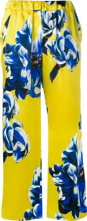 Ermanno Gallamini , Floral Trousers Women Silk M, Yellow