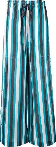 Ports , 1961 Striped Palazzo Pants Women Cottoncupro 40, Black