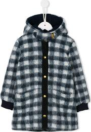Simple Kids , Checked Hooded Coat Kids Cottonpolyesterspandexelastane 6 Yrs, Girl's, Blue