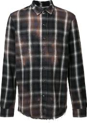 Amiri , Stained Effect Plaid Shirt Men Cottonrayon M, Brown