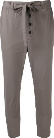 Lareida , Cropped Trousers Women Cottonspandexelastane 38, Grey
