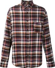 The Elder Statesman , Deadstock Flannel Checked Shirt Men Cotton S, Brown