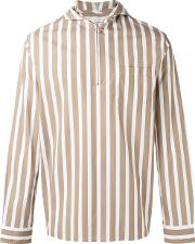 Cmmn Swdn , Hooded Striped Shirt Men Cotton 46, Brown
