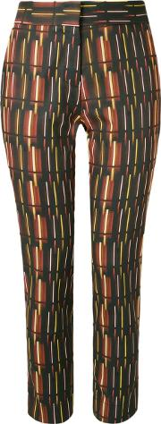 Andrea Marques , Mid Rise Printed Straight Trousers Women Cottonspandexelastaneacetate 36, Women's, Brown