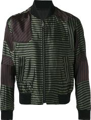 Wooyoungmi , Striped Bomber Jacket Men Viscosepolyesterrayon 50, Green