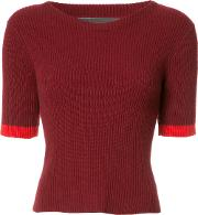 The Elder Statesman , Bicolour Knitted T Shirt Women Cashmere S, Red
