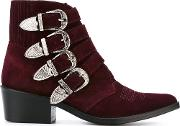 Toga Pulla , Western Buckle Ankle Boots Women Leathersuedemetal Other 37, Red