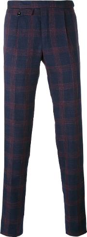 Incotex , Plaid Tailored Trousers Men Silklinenflaxwool 50, Blue