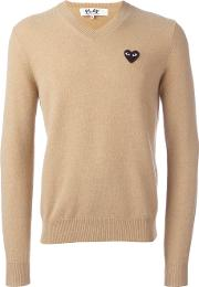 Comme Des Garcons Play , Embroidered Heart Jumper Men Wool L, Nudeneutrals